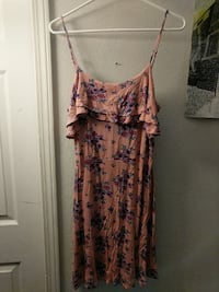 women's purple floral spaghetti-strap dress