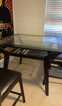 DARK WOODEN/GLASS DINING ROOM TABLE W/ 4 CHAIRS Chantilly, 20151