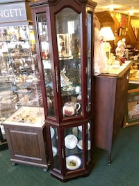 brown wooden framed glass display cabinet Canisteo, 14823