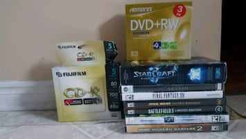 Misc PC cables, games and usable blank disks