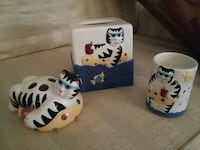 Cat glass tissue box, tooth brush holder and cup White Stone, 22578