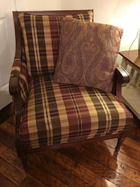 Two Custom Made Ethan Allen Plum Plain Wing Back Chairs Shelton, 06484