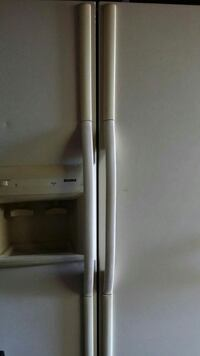 white side-by-side refrigerator tan color