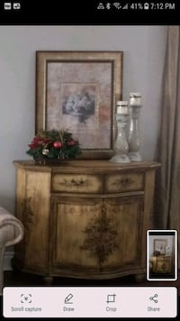 Solid wood painted storage cabinet and print