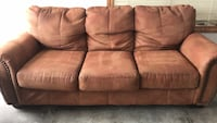 "Couch  84"" long. rust/squash color.   No tears, gently used. matching Loveseat  63"" long.   Muskego, 53150"