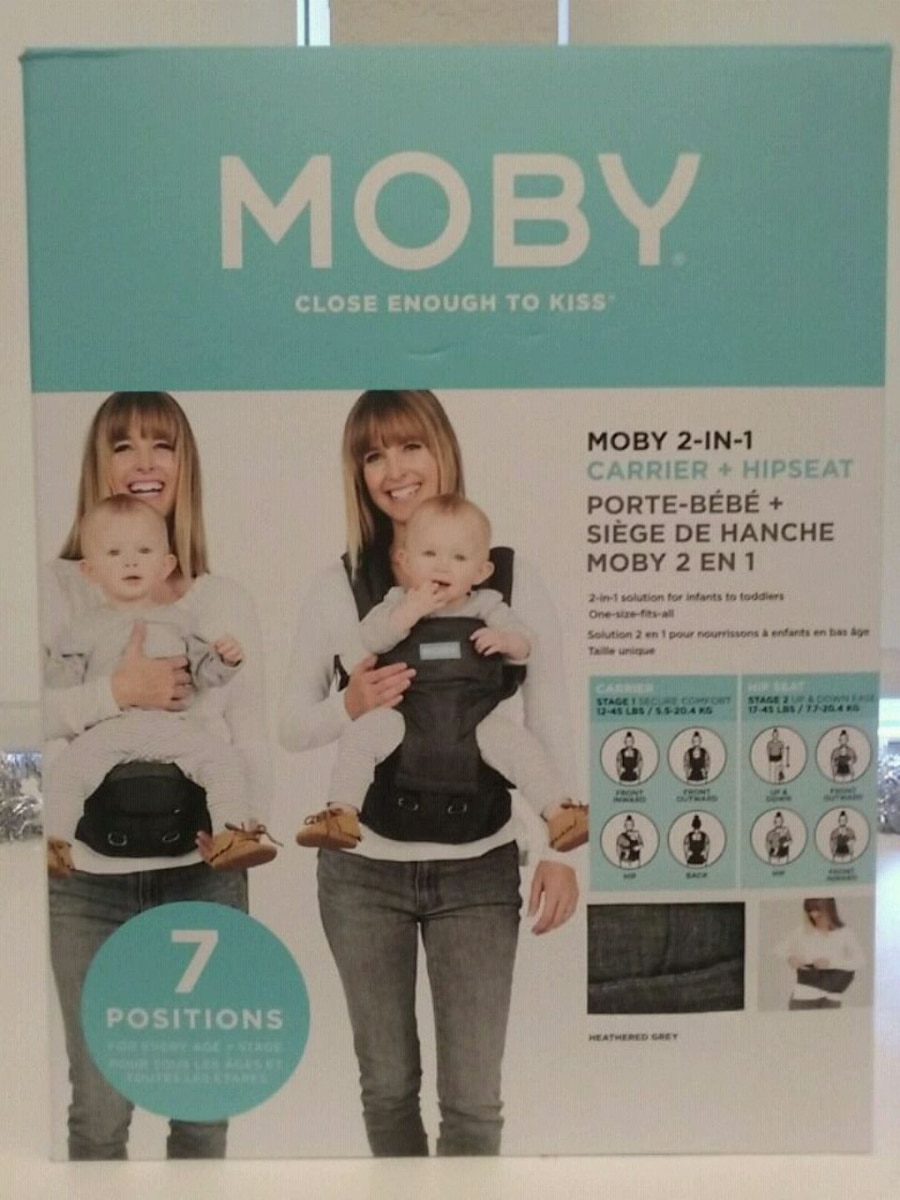 Photo NEW MOBY 2-in-1 Baby Infant Carrier + Hip Seat (Grey)