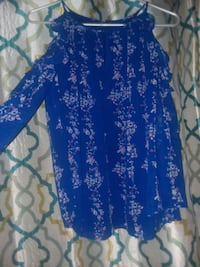 blue and white floral long-sleeved dress Hartselle, 35640