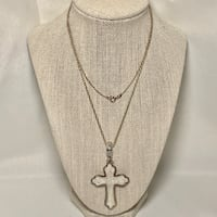 Sterling Silver & Carved Mother of Pearl Cross Pendant Ashburn