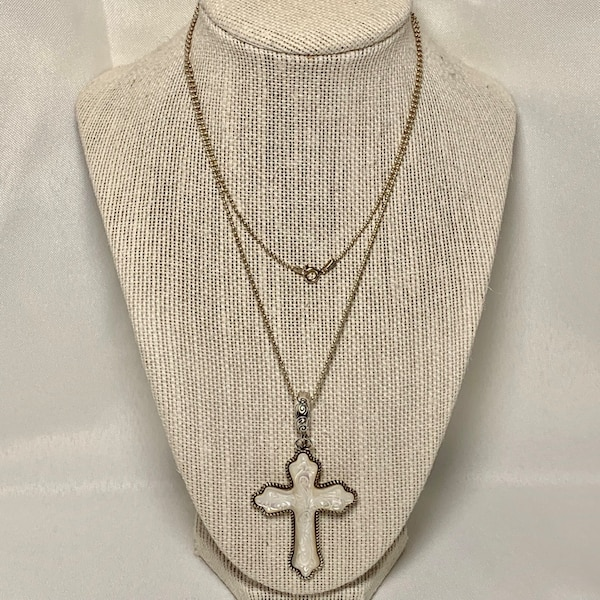 Carolyn Pollack Sterling Silver Carved Mother of Pearl Cross Pendant 36b5e91a-f4d5-4c8d-9ac2-6f7e4425a998
