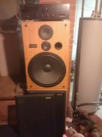 brown and black home theater system