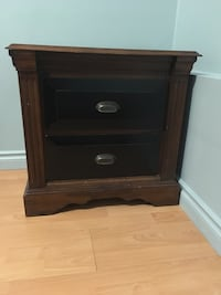 black and brown 2-drawer wooden nightstand