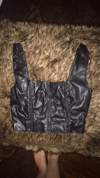 BEBE LEATHER CROP TOP IN SIZE XS