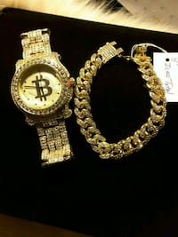 NEW GOLD FINISH Iced-Out Watch & Braclete Set 60$ Ladson, 29456