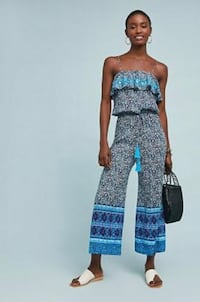 NEW Anthropologie RAGA Blue Lagoon Frill Top Jumpsuit Size Small MSRP $128 NWT New York, 11372