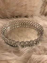 rhinestone and silver mirrored tray
