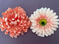 2 clip on flower blossoms, Peach & salmon, clip on, for gifts or hair Henderson, 89012