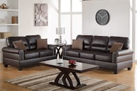 Brown bonded leather trimmed in nickel finished buttons sofa & loveseat 29 mi