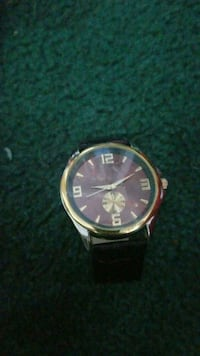 round gold-colored analog watch with brown leath Newark, 19702