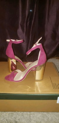 pair of pink suede peep toe platform stilettos Arlington, 22201