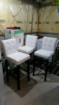 3 white padded stools  with brown wooden base Hamilton, L0R 2H4