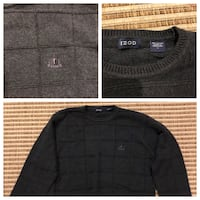 Black izod crew-neck sweater collage photo pair one green one gray