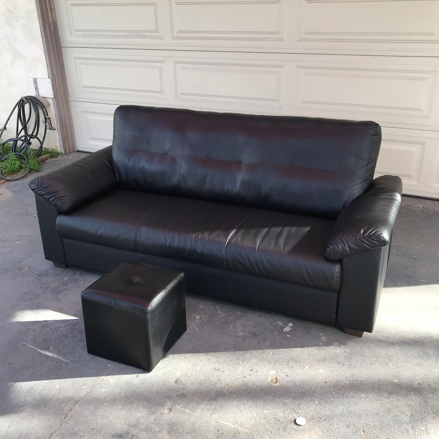 Ikea Knislinge Black 6.5 Ft Couch U0026 Ottoman (free Delivery 20 Miles )