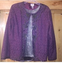 Chico's Fancy beaded cardigan. Perfect for holiday parties. Cute also with leggings or jeans. Elegant purple lining Salt Lake City, 84109