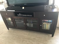 wooden tv stand with glass door cabinets