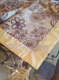 """Gold and brown table topper New in a bag 50""""x 50"""" with textured flowers like velvet ."""