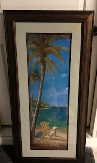 brown wooden framed painting of blue and brown trees 355 mi