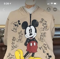 Mickey Mouse Disney ZIP Up Vintage Look Fleece Hoodie XL