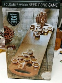 Sharper Image foldable wood beer pong game. NIB. $26 on Amazon  Gaithersburg, 20878