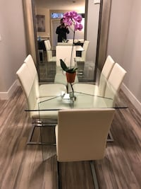 Glass dining table Italian Leather Chairs
