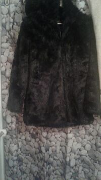 Brand new faux fur coat with hood.