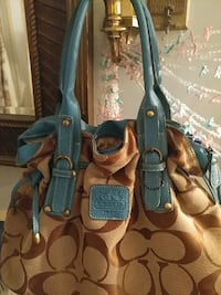 brown and blue Coach  bag Town 'n' Country, 33615