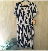 white and black chevron print sleeveless dress Chantilly