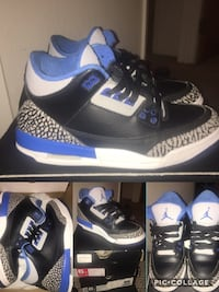 black-grey-and-blue Air Jordan basketball shoes