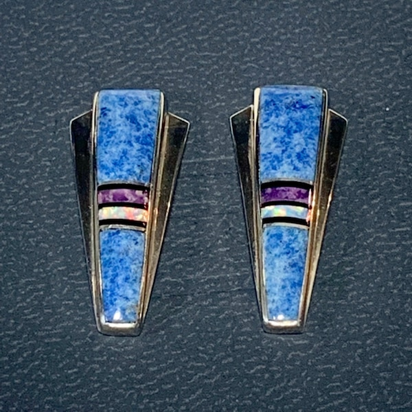 Genuine Navajo Mosaic Sterling Silver Lapis Opal Sugilite Earnings 5