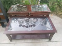 rectangular brown wooden framed glass top coffee table Atwater, 95301