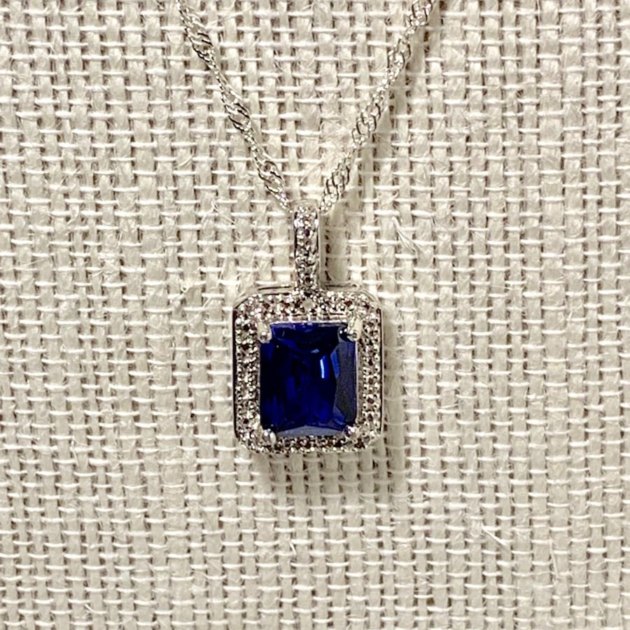 Genuine Sterling Silver Sapphire Halo Pendant with Sterling Chain 6b72235d-2bbd-4fa2-8c3f-2c1b490f5206