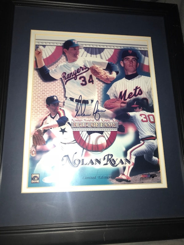 Signed Nolan Ryan hall of fame poster