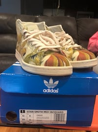 White-and-multicolored adidas stan smith mid jacquard shoes with box Elizabeth, 07201