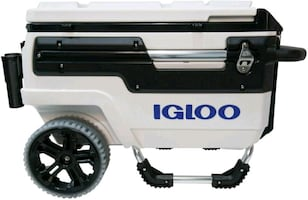 Igloo Trailmate Marine Wheeled Cooler, Black/White/Chrome, 70 Quart