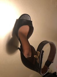 pair of black leather open-toe ankle strap heels Marietta, 30064