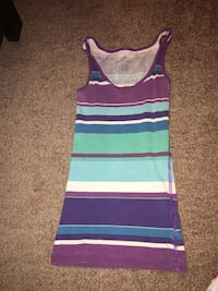 purple, white, and teal striped tank top Evansville