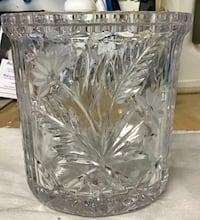Heavy cut glass ice bucket   7 inches T.     6 1/2 W Langley, V1M