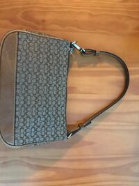 black and gray Coach leather crossbody bag Columbia, 21046