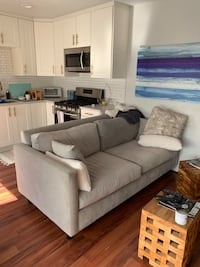 Grey Upholstered Fabric Couch