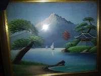 alps painting with brown wooden farme