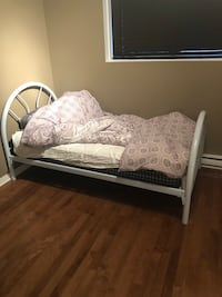 white wooden bed frame with white mattress Longueuil, J4K 4Z1